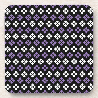 Cool Pale Purple & White Argyle Pattern on Black Coaster
