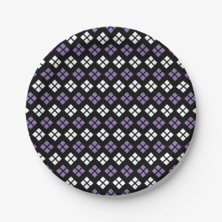 Cool Pale Purple & White Argyle Pattern on Black Paper Plate