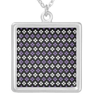Cool Pale Purple & White Argyle Pattern on Black Silver Plated Necklace
