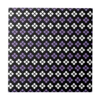 Cool Pale Purple & White Argyle Pattern on Black Small Square Tile