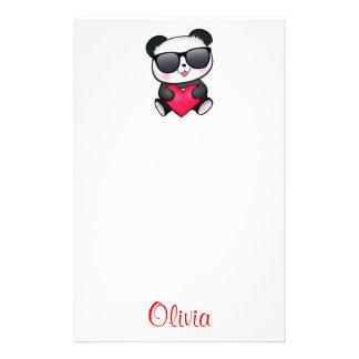 Cool Panda Bear Sunglasses Valentine's Day Heart Custom Stationery
