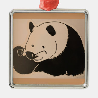Cool Panda with Shades Metal Ornament