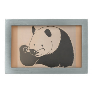 Cool Panda with Shades Rectangular Belt Buckle