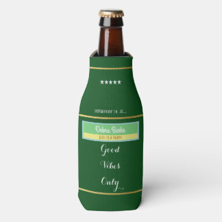cool party & vibes, custom label on green