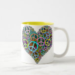 Cool Peace Love Heart Two-Tone Mug
