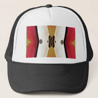 Cool Peach White Modern Abstract Butterfly Trucker Hat