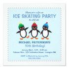 Cool Penguin Ice Skating Birthday Party Invitation