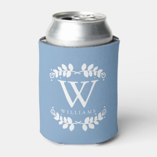 Cool Periwinkle Blue Monogram Can Cooler