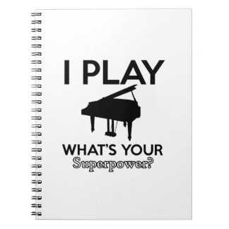 cool piano designs spiral note book