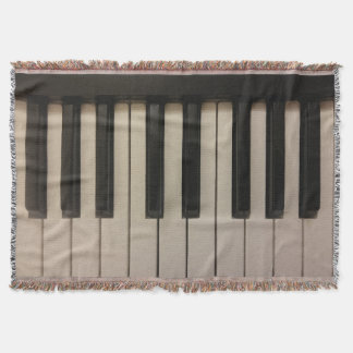 Cool Piano Keys Photo Print Design Throw Blanket