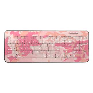 Cool Pink Camouflage Pattern Wireless Keyboard