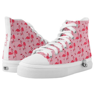 Cool Pink Flamingo Tropical Pattern High Tops