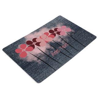 Cool Pink Flowers Cloud Denim Floor Mat