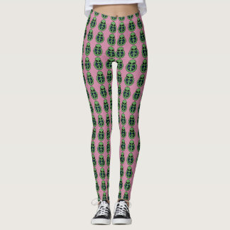 Cool Pink & Green Alien Peace Symbol Pattern Leggings
