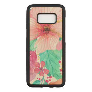 Cool Pink & Green Watercolors Flowers Closeup Carved Samsung Galaxy S8 Case