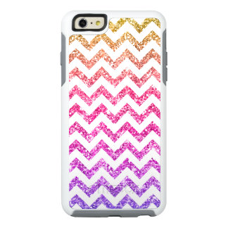 Cool Pink Purple Gold Glitter White Chevron Stripe OtterBox iPhone 6/6s Plus Case