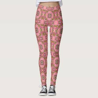 Cool Pink Rose Moss(mini print) Leggings