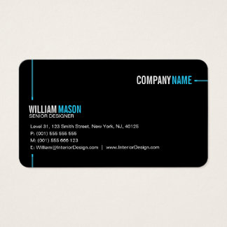 Cool Plain Black and Blue Modern Business Card