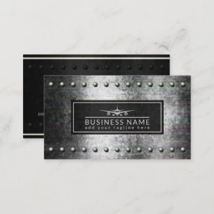 Commercial aviation business cards business card printing zazzle cool plane silhouette rough steel rivets aviation business card colourmoves