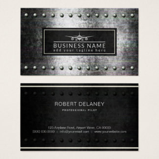 Cool Plane Silhouette Rough Steel Rivets Aviation Business Card