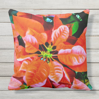 Cool Poinsettia Plant Photo Print Design Cushion