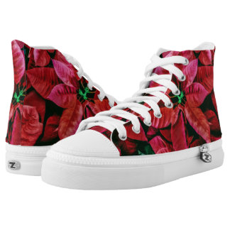Cool Poinsettia Plant Photo Print Design Red High Tops