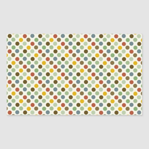 Cool Polka Dots Fall Earth Tones Colors Pattern Rectangle Sticker