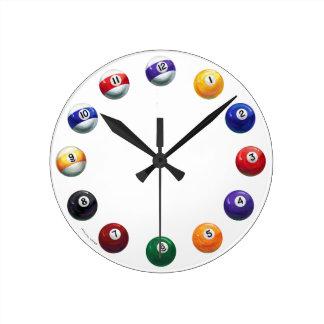 Cool Pool Balls Round Wall Clock