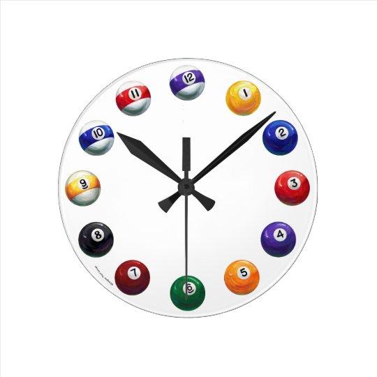 Cool Pool Balls Round Wall Clock : Zazzle