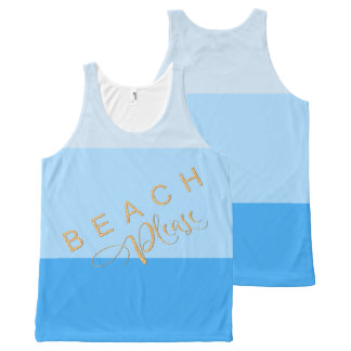 Cool Pool Blue Stripes - Beach Please Gold Glitter All-Over Print Singlet