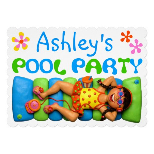 Cool Pool Party Custom Announcement
