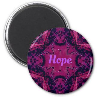 Cool Pop Magenta Lavender 'Hope'  Artistic Design 6 Cm Round Magnet