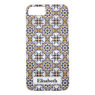 Cool Portuguese Azulejo Blue Yellow personalized iPhone 8/7 Case