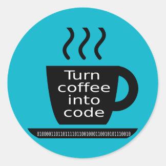 Cool Programmer Geek Coffee Addiction Round Sticker