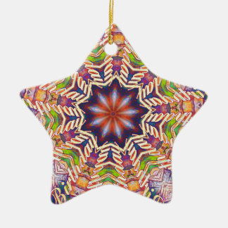 Cool Psychedelic Pastel Mandala Shaped Ceramic Ornament