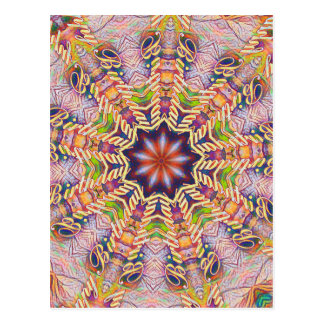 Cool Psychedelic Pastel Mandala Shaped Postcard