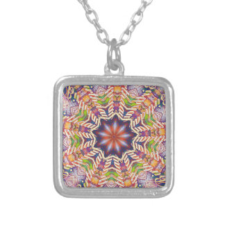 Cool Psychedelic Pastel Mandala Shaped Silver Plated Necklace