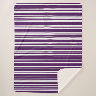 Cool Purple and White Modern Stripes Sherpa Blanket