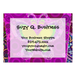 Cool Purple Butterfly Concentric Circles Mosaic Business Card Template