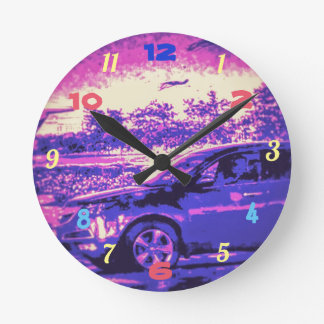 COOL PURPLE CAR ROUND CLOCK