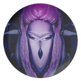 Cool purple character for people of all ages plate
