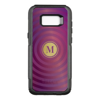 Cool Purple Designer Stripe Pattern Gold Monogram OtterBox Commuter Samsung Galaxy S8+ Case