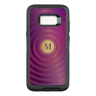 Cool Purple Designer Stripe Pattern Gold Monogram OtterBox Defender Samsung Galaxy S8+ Case