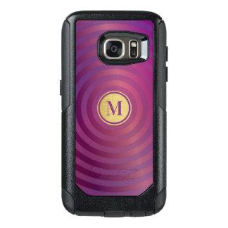 Cool Purple Designer Stripe Pattern Gold Monogram OtterBox Samsung Galaxy S7 Case