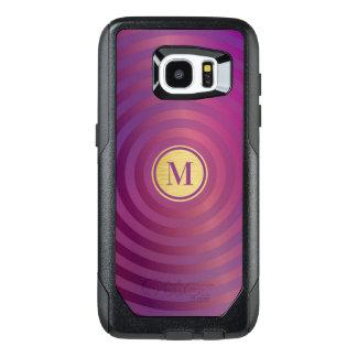 Cool Purple Designer Stripe Pattern Gold Monogram OtterBox Samsung Galaxy S7 Edge Case