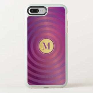 Cool Purple Designer Stripe Pattern Gold Monogram OtterBox Symmetry iPhone 8 Plus/7 Plus Case