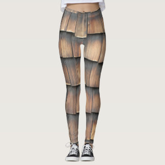 Cool, Quirky Fashion Brown Aged Wooden Shingles Leggings