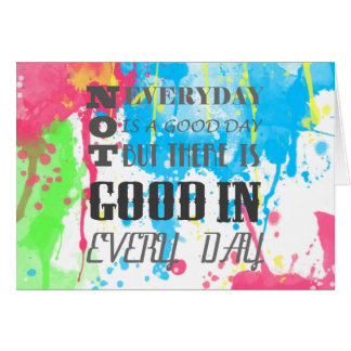 Cool quote colourful vibrant watercolours splatter card