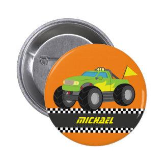 Cool Racing Green Monster Truck for Racer Boys 6 Cm Round Badge