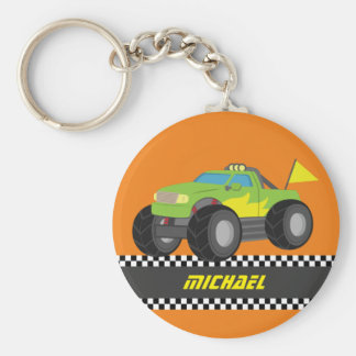 Cool Racing Green Monster Truck for Racer Boys Basic Round Button Key Ring